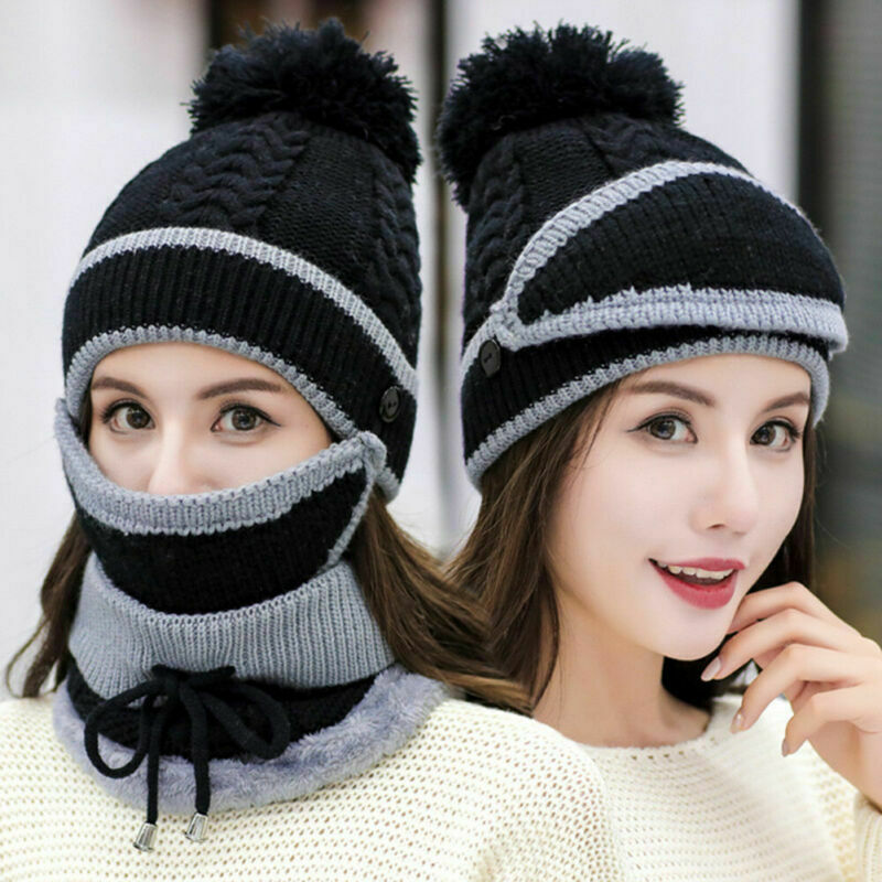 Women Knitted Beanie Scarf Hat Face Mask Set Snood Neck Winter Pompom Cap Thicken J55