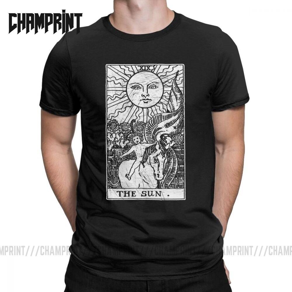 The Sun Tarot Card Major Arcana Fortune Telling Occult Men T Shirt Novelty Tees Short Sleeve T-Shirts 100% Cotton Summer