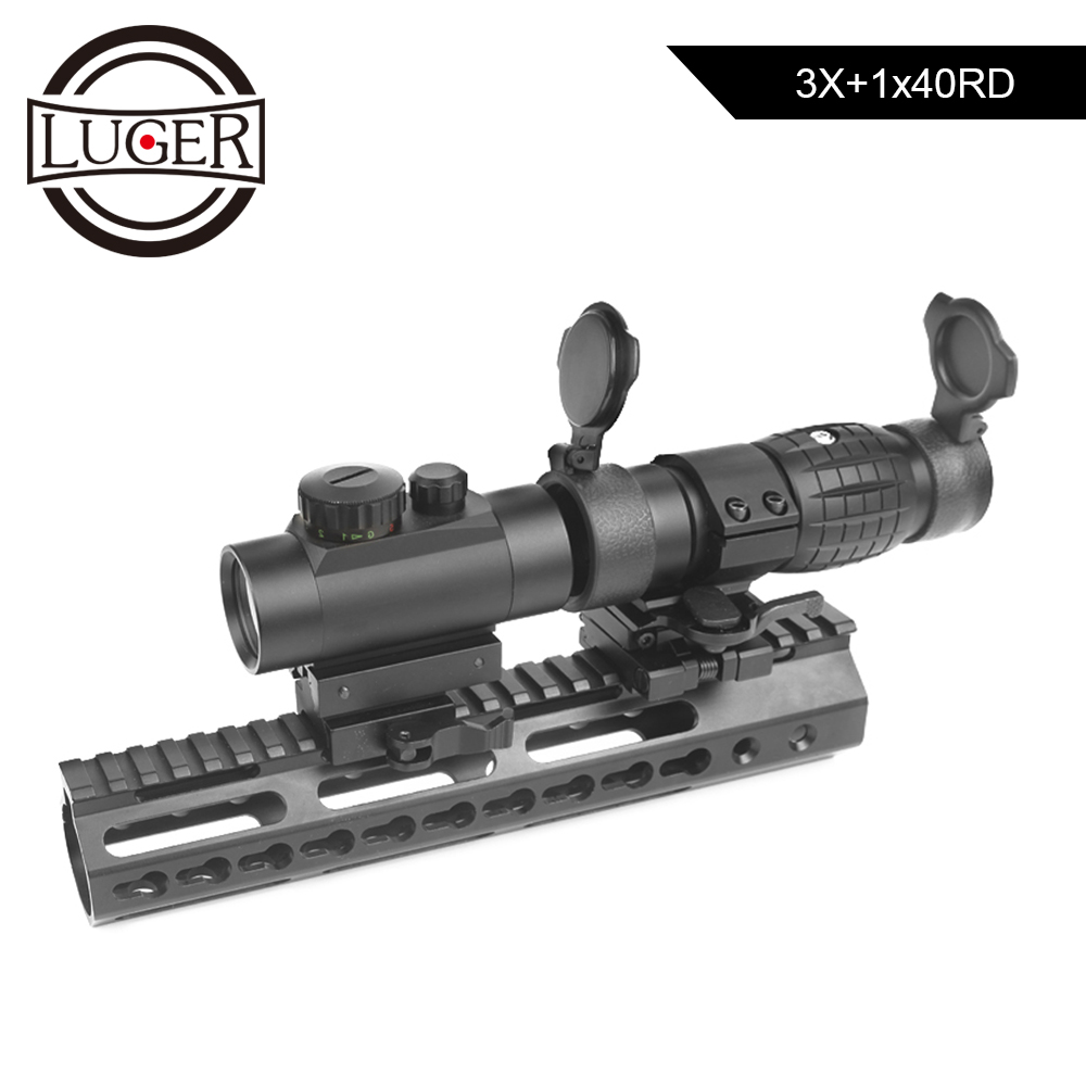 LUGER 3X Magnifier Scope Compact Holographic 1 X 40 Red Green Dot Tactical Sight Rilfescope With 20mm Mount For Guns Hunting