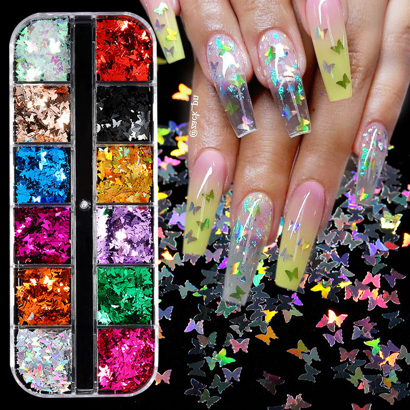 Butterfly Nail Sequins Glitter Moon Flakes Paillette Iridescent Holographic Maple Leaf Manicure Decoration Nail Art Tips