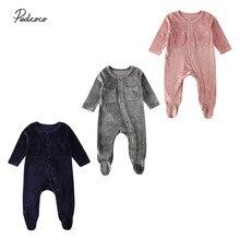 Г. Летняя одежда для малышей Одежда для новорожденных мальчиков и девочек бархатные однотонные комбинезоны с длинными рукавами для детей от 0 до 18 месяцев