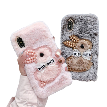 case for iPhone 11 XR 7 8 11 Pro Max X XS Max Plus 6 6s cover Plush Beaded Rabbit All-Inclusive Soft-Shell