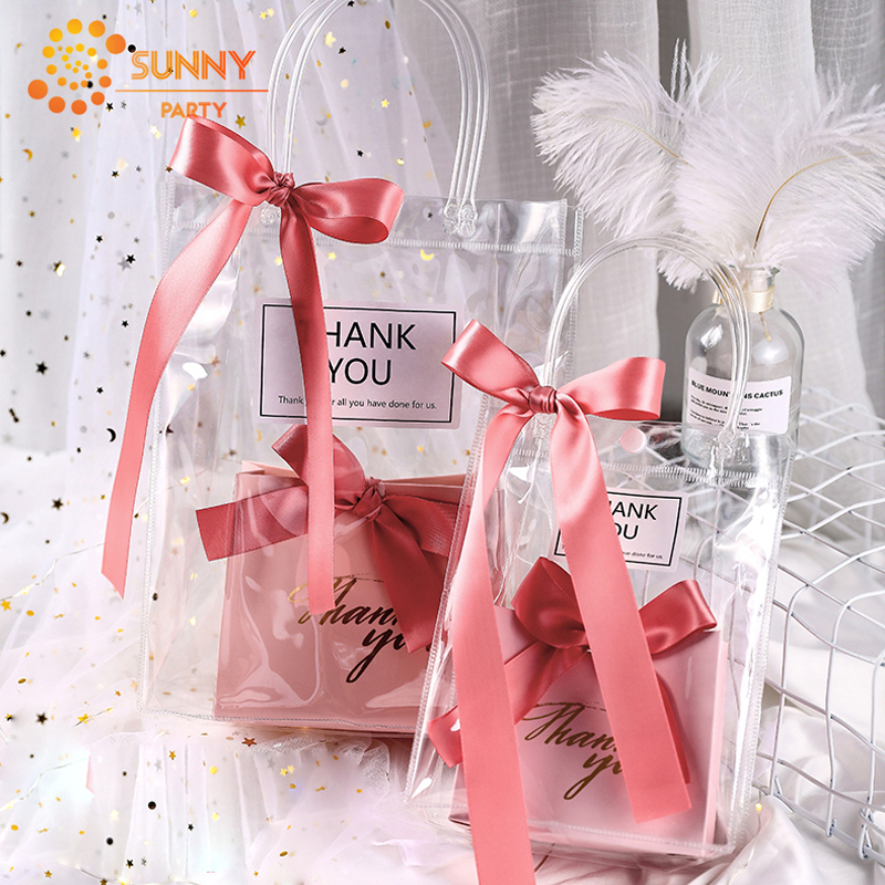 PVC Transparent Tote Bag Ribbon Bow-knot Decoration Candy Box Package Bags Wedding Bridesmaid Gift Packaging Party Supplies
