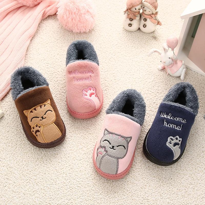 Winter Kids Slippers Baby Girl Indoor Floor Shoe Warm Cotton Cartoon Cat Boys Slipper Fluffy Plush Children Flip Flop Home Shoes