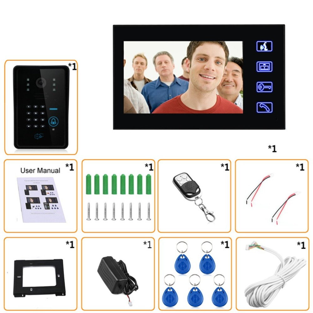 7 inches Wired Doorbell RFID Password Video Door Phone Intercom Doorbell With IR Camera HD TV Line Remote Control System - 6