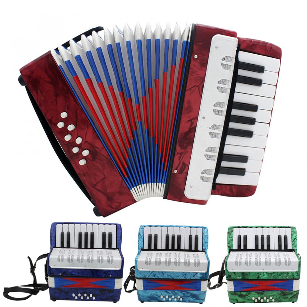 Accordion 17 Key Professional Mini Accordion Educational Musical Instrument Cadence Band for Both Kids & Adult 4 Colors Optional