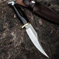 ¡Oferta! Cuchillo de hoja fija militar táctico para caza, mango de madera, alta calidad, combate, autodefensa, herramientas de acampada
