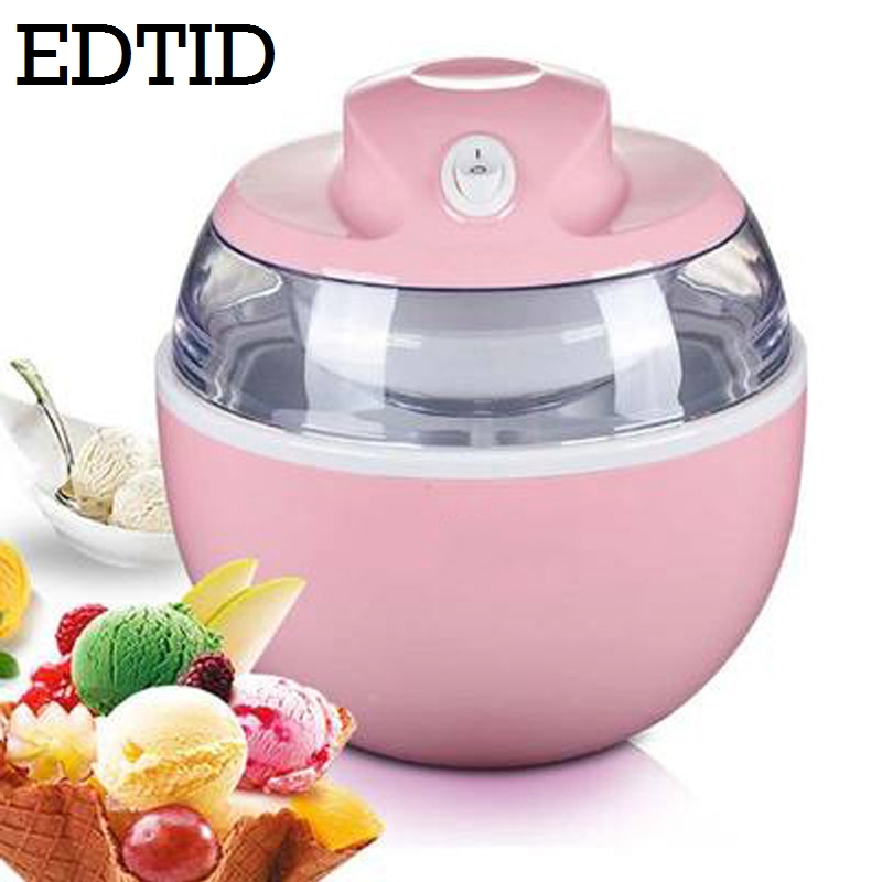 EDTID MINI DIY Automatic Fruit Ice Cream Machine Electric Soft Icecream Frozen Yogurt Sorbet Maker Milkshake Freezer EU US Plug