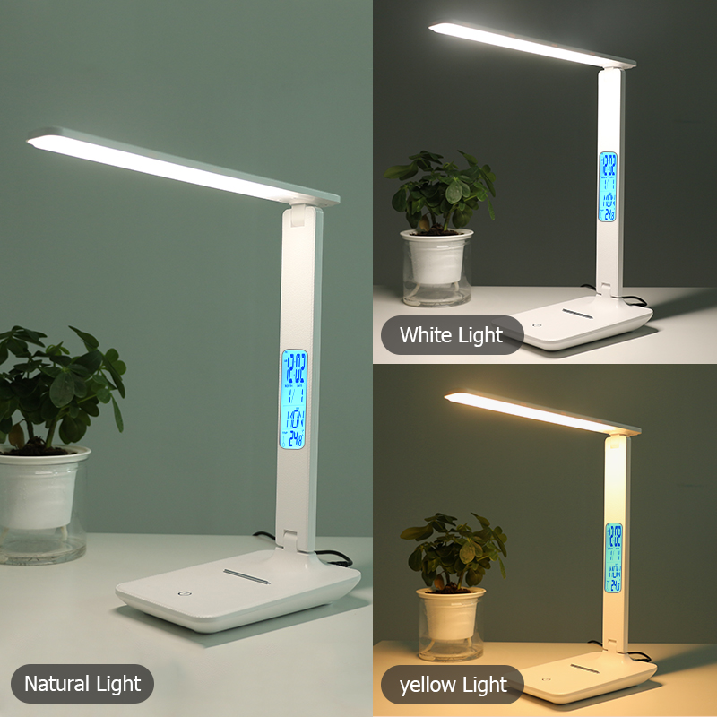 Modern Business Led Office Desk Lamp Touch Dimmable Foldable With Calendar Temperature Alarm Clock table Reading Light LAOPAO 2