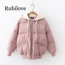 Rubilove 2019 Puff Padded Zipper With Hood Warm Outerwear Quilted Women Jacket zipper quilted pilot jacket
