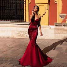 Женское атласное платье Русалка soworthy красное вечернее с