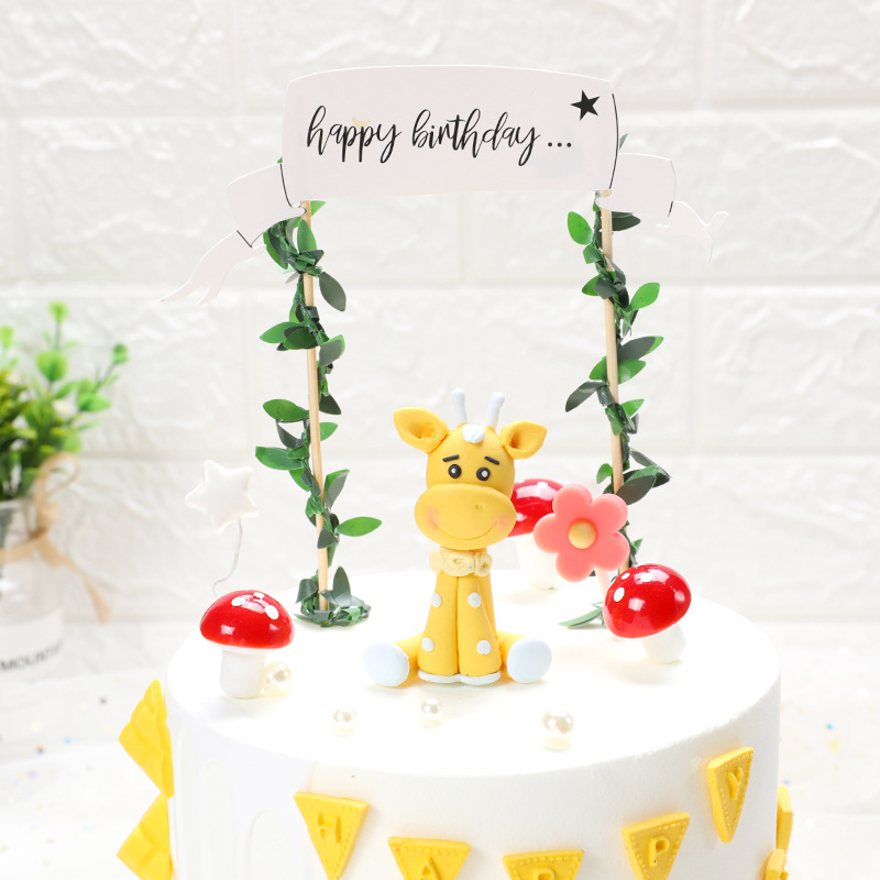 Cartoon Zoo Forest Animal Cake Toppers for Kid`s Birthday Decoration Monkey Giraffe Tiger Lion Cupcake Toppers Birthday Cakes