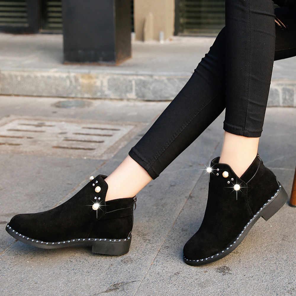Boyutu 40 Martin çizmeler ayakkabı kadın inci sonbahar kış süet düz kadın ayakkabı rahat kalın topuk süet fermuar çizmeler Botines mujer