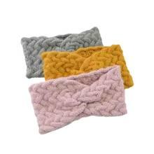 Bandeau large en laine pour femmes, torsadé, croisé, tricoté, en peluche, chauffe-oreille, Crochet, accessoires pour cheveux