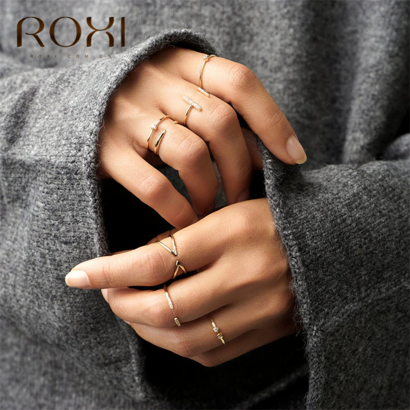 ROXI 925 Sterling Silver Rings for Women Adjustable Size Rings Wedding Jewelry Gold Silver Color Zirconia Crystal Finger Rings(China)