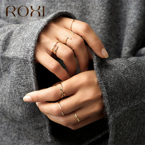 ROXI 925 Sterling Silver Rings for Women Adjustable Size Rings Wedding Jewelry Gold Silver Color Zirconia Crystal Finger Rings