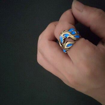 bague dragon bronze bleu