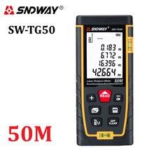 Sndway novo medidor de distância a laser 50m range finder fita medida ferramentas de roleta a laser diastímetro construir dispositivo SW-TG50