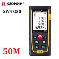 Sndway novo medidor de distância a laser 50m range finder fita medida ferramentas de roleta a laser diastímetro construir dispositivo SW TG50|Telêmetro a laser| |  -