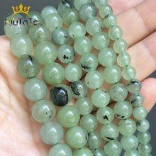 Yeşil prehnitler yuvarlak gevşek halka boncuk takı için doğal pürüzsüz taş boncuk DIY yapma bilezik 15 ''seçim boyutu 6 8 10mm