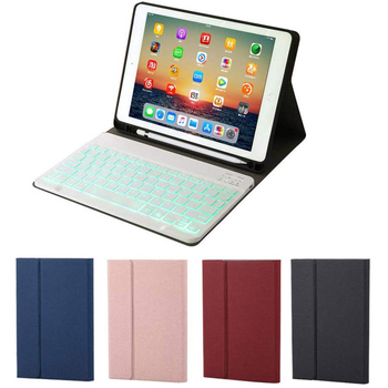 New Keyboard Leather Case Backlit Folio Cover Wireless Bluetooth Keyboard for iPad 10.2 2019 DOM668
