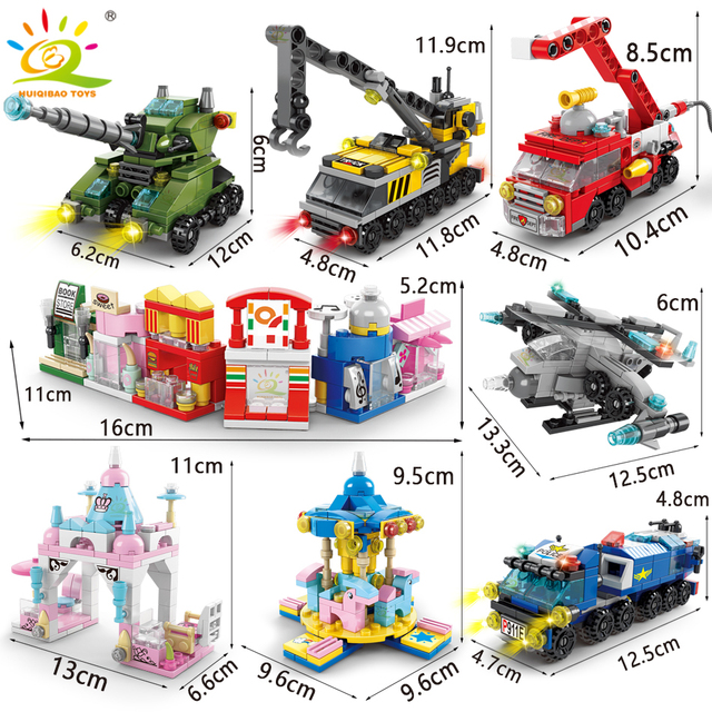 HUIQIBAO 6IN1 City Fire Police army Engineering Street View Girls Building Blocks Tank helicopter Truck Car Bricks Children toys