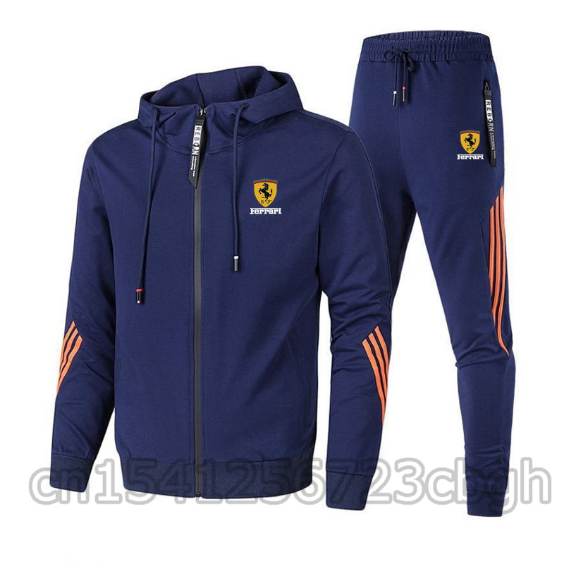 New autumn and winter men's sports shirts zipper hoodies + pants two pieces of casual sportswear men's sportswear gym brand clot
