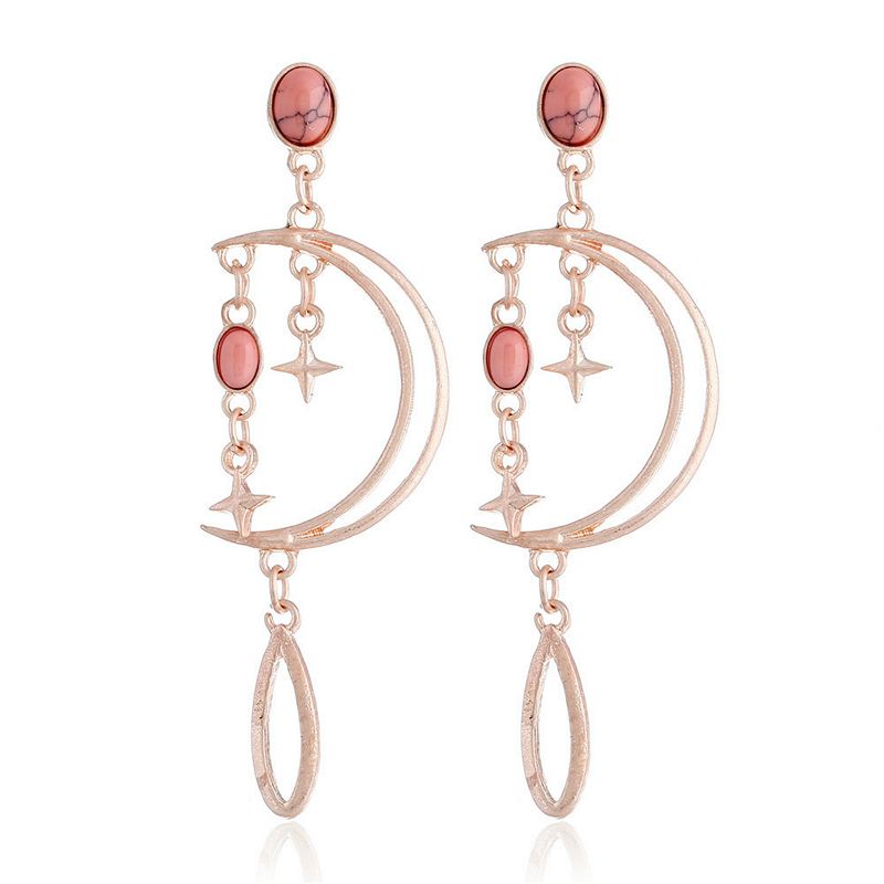 Trendy Simple Hollow Out Star Moon Dangle Earring For Women Long Tassel Earrings Pink Stone Water Drop Earrings Fashion Jewelry