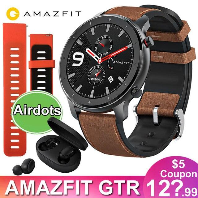 ساعة ذكية Huami 5ATM مقاومة للماء, الإصدار العالمي Amazfit GTR 47 ملليمتر ساعة ذكية Huami 5ATM ساعة ذكية مقاومة للماء 24 يومًا بطارية GPS التحكم في الموسيقى لنظام Android IOS