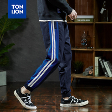 TONLION New Spring Pants Men Panelled Stripe Decoration Mens Drawstring Pant Man Navy Long Trousers Fashion Blue Elastic Ankle