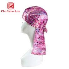 Children Silk Long Tail Pirate Hat Headscarf Hip Hop Cap Bandana Turban Headwear Boys Hip Hop Cloak Hat Hair Accessories
