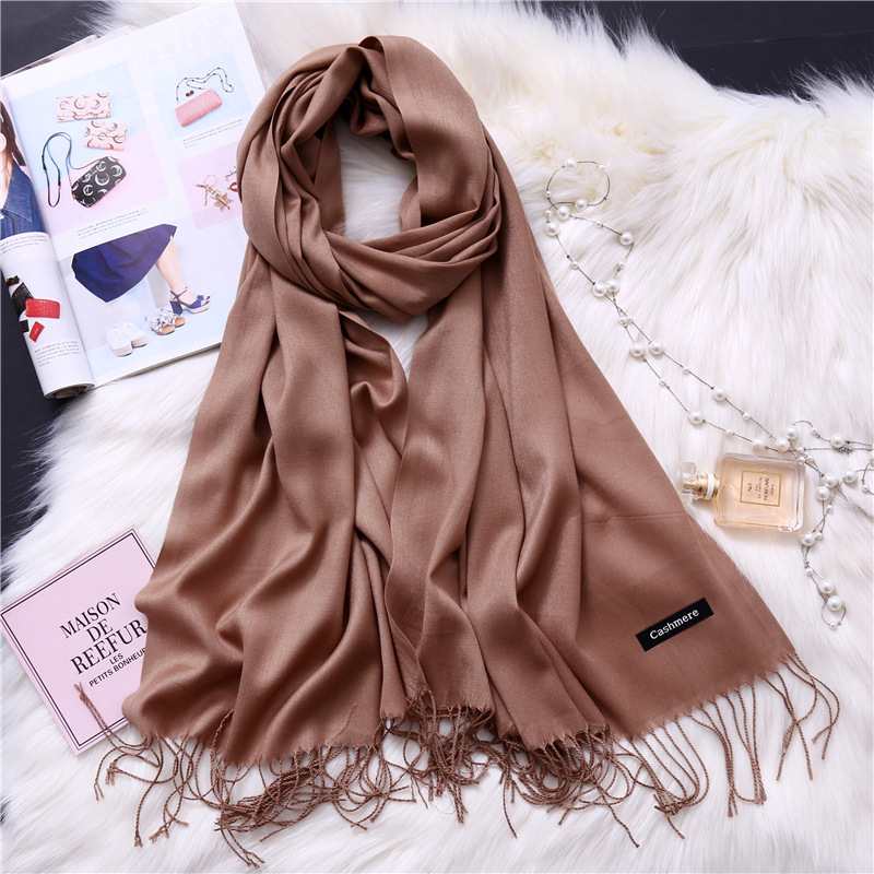 2019 women scarf solid cashmere scarves lady shawls and wraps winter head scarf pashmina long size foulard hijab wholesale in Women 39 s Scarves from Apparel Accessories