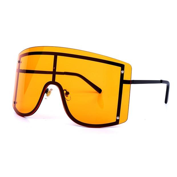 Oversized Women Blue Yellow Gradient Sunglasses Fashion Rimless Metal Female Shades Luxury Brand Designer Personality Eyewear 10