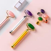 Massage-Tools Vibrating Skin-Care Face-Lifting Jade-Stone Electric-Jade-Roller Rose Quartz