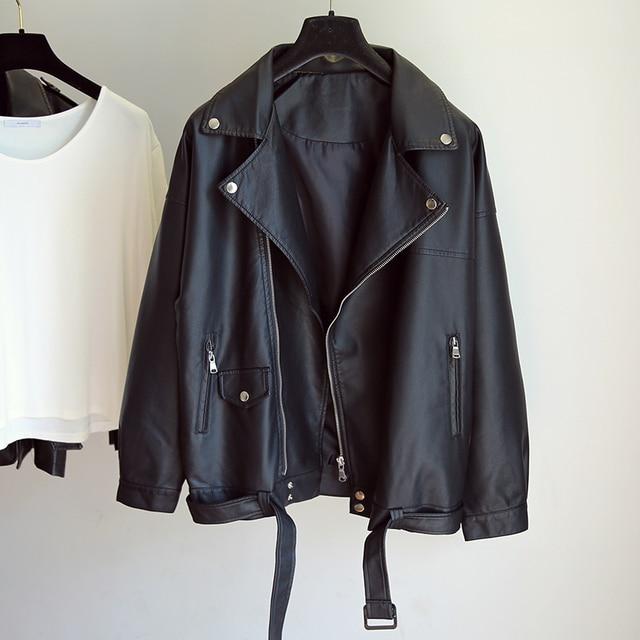 Fitaylor New Spring Women Loose Pu Faux Leather Jacket with Belt Streetwear Moto Biker Black Coat BF Style Oversized Outwear 4