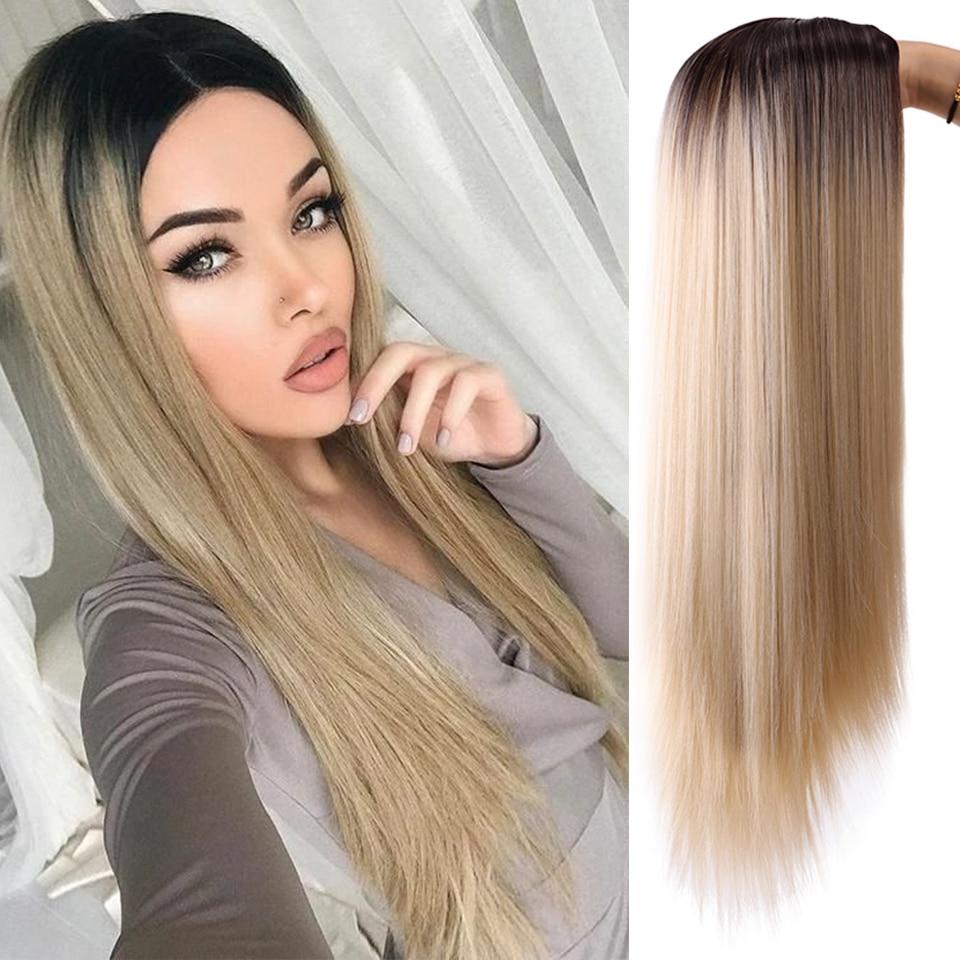 LUPU Ladies Gradient Gold Long Straight Natural Wig, 26