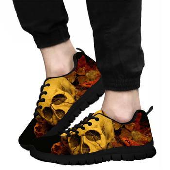 Zapatos para hombre ELVISWORDS2019 con estampado de calavera con fuego a la medida, zapatos informales en negro, azul y naranja, talla de zapatillas 37-45, zapatos transpirables para caminar