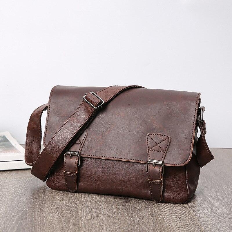 Casual Style Men Briefcase Bag Fashion Shoulder Bag PU Messenger Bags Waterproof Office Handbag Document Case Portfolio