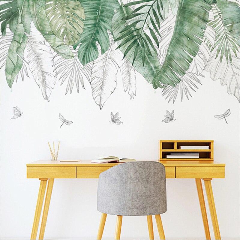 Papel de parede adesivos folha verde erva daninha vinil sala estar quarto decorações decalques para cozinha sala estar decoração