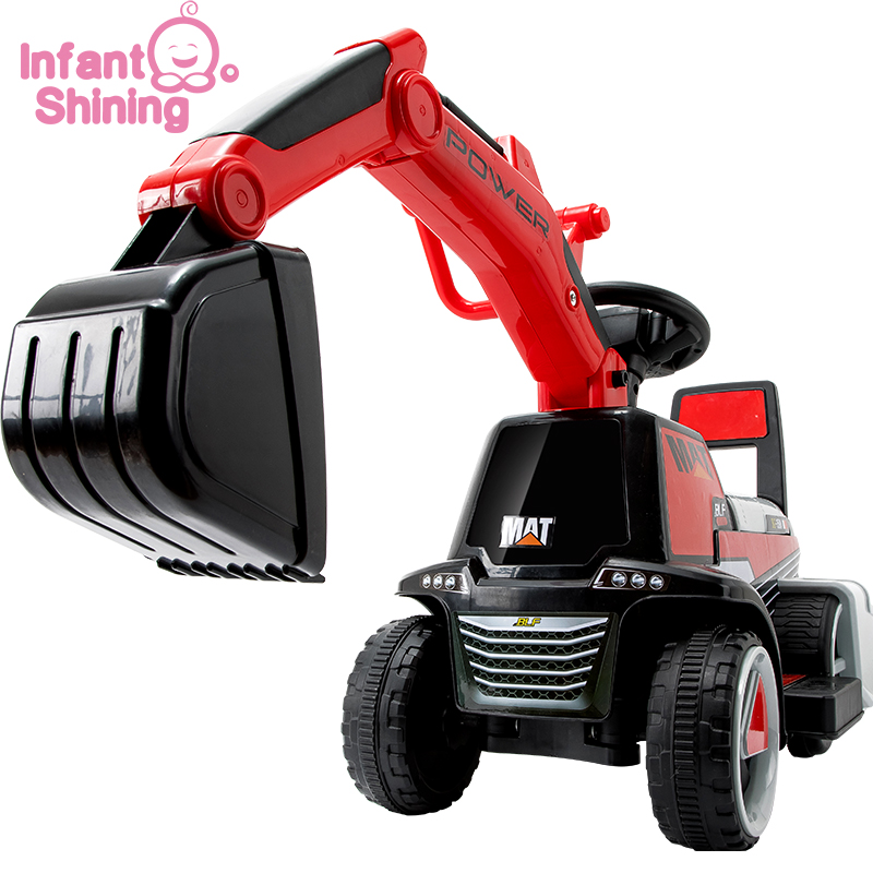 Infant Shining Child Excavator Ride On Toy Baby Car Balance Car Engineering Vehicle With LED Light Large Gift Suit For 1-5Y Baby