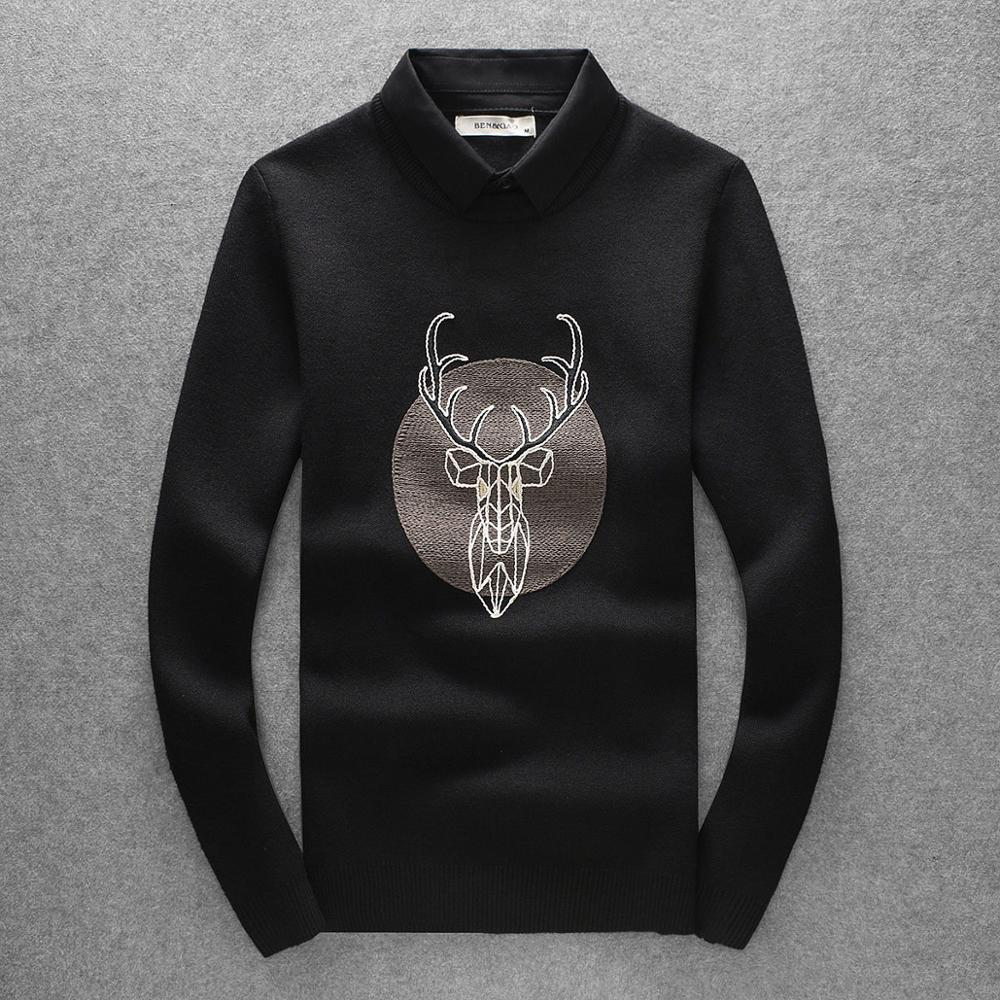 New Kiryaquy Men Luxury Gentleman Cotton Embroidery Deer Diamond Casual Sweaters Pullover Asian Plug Size High Drake #N142