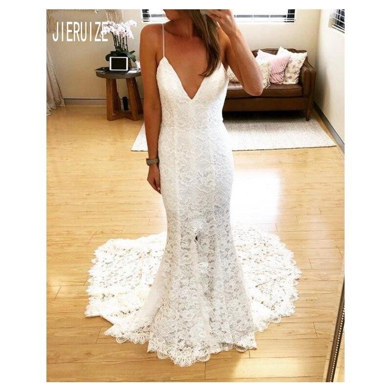 JIERUIZE Sexy Spaghetti Lace Mermaid Wedding Dresses Backless Beach Bridal Gown Vestido De Novia Sleeveless Robe De Mariee