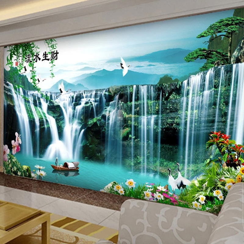 Custom Mural Wallpaper 3D Waterfalls Nature Landscape Wall Painting Living Room TV Sofa Study Home Decor Chinese Style Wallpaper