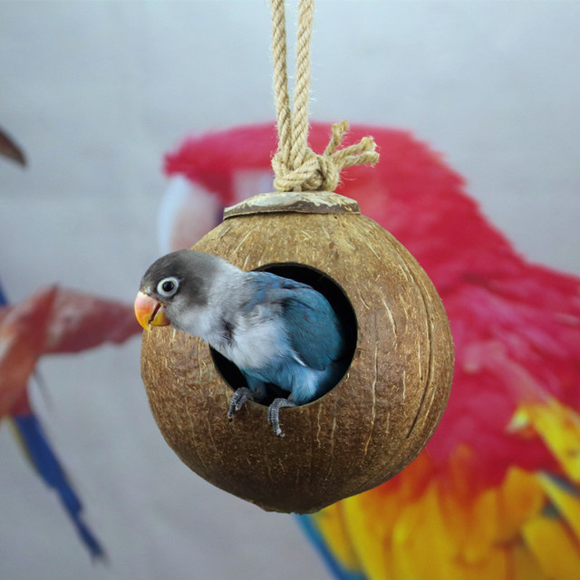 Natural Coconut Shell Bird Cages Parrot House Nesting House Cage With Hanging Lanyard For Small Pet Parakeets Finches Sparrows 3
