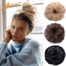 Chignon Ponytails Scrunchie Messy Bun Synthetic-Hair Ring-Wrap Rubber-Band Curly