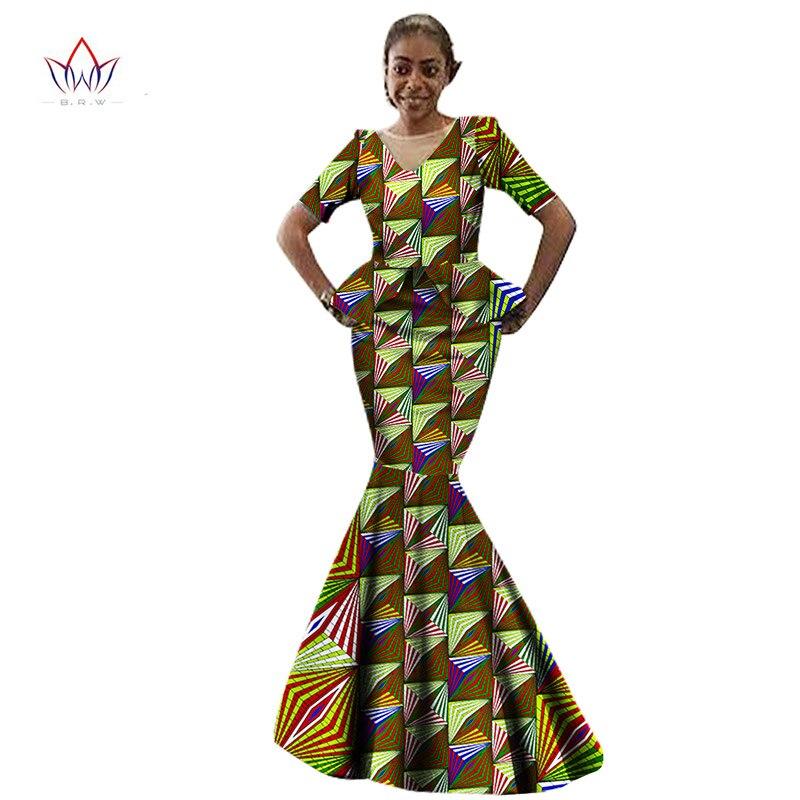 Африканская Женская одежда, повседневное женское Макси платье с коротким рукавом, африканская одежда с принтом, Длинные Вечерние Платья с ц... - 2