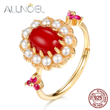 ALLNOEL Vintage  Design Red Coral Ring 925  Sterling Silver Rings For Women Real Gold Shell Pearl Genuine  Wedding Fine Jewelry