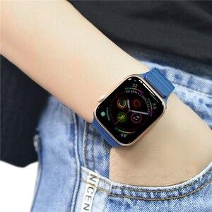 Image 5 - 애플 시계 밴드에 대 한 더블 마그네틱 걸쇠 스트랩 44mm 40mm 가죽 루프 iwatch 시리즈 4 5 3 2 42mm 38mm 팔찌 애플 시계 4 5