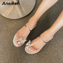 Aneikeh Summer Women Shoes Slingbacks PU Slip-On Casual Butterfly-knot Camouflage Square Toe Flats Rubber Silvery 35~39 New 2020(China)