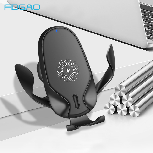 FDGAO 15W מהיר צ י אלחוטי מטען לרכב עבור iPhone 11 פרו XS XR X 8 סמסונג S10 S9 הערה 10 טעינה מהירה רכב הר מחזיק טלפון
